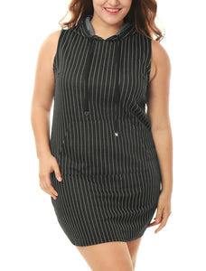 Women Plus Size Kangaroo Pocket Sleeveless Striped Hooded Dress Black