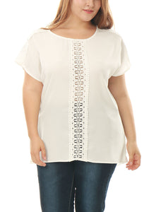 Women Plus Size Crochet Lace Panel Chiffon Tunic Top White