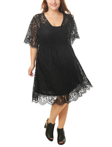 Women Plus Size Self Tie Waist Floral Lace Wrap Front Dress Black