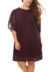 Women Plus Size Tulip Sleeves Floral Lace Shift Dress Burgundy
