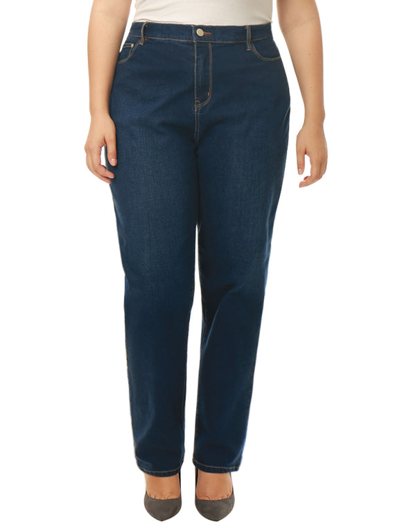 Women Plus Size Mid Rise Stretch Straight Leg Jeans Blue