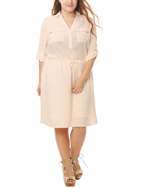Women Plus Size Drawstring Waist Roll Up Sleeves Dress Pink