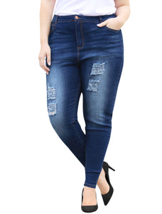 Women Plus Size Mid Rise Distressed Washed Skinny Jeans Blue