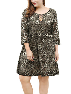 Women Plus Size 3/4 Sleeves Lace-Up Above Knee Lace Flare Dress Black