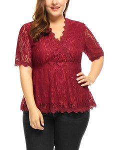 Women Plus Size Sheer Short Sleeves V Neck Scalloped Trim Floral Lace Top