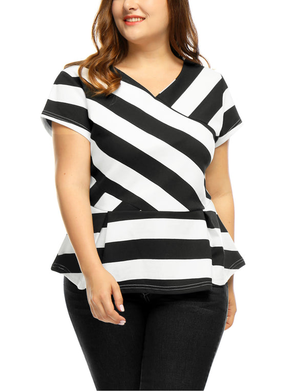 Women Plus Size V Neck Inverted Pleats Striped Peplum Top