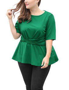 Women Plus Size Short Sleeves Knot Front Peplum Top