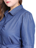 Women Plus Size 1/2 Sleeves Belted Above Knee Denim Shirt Dress Blue