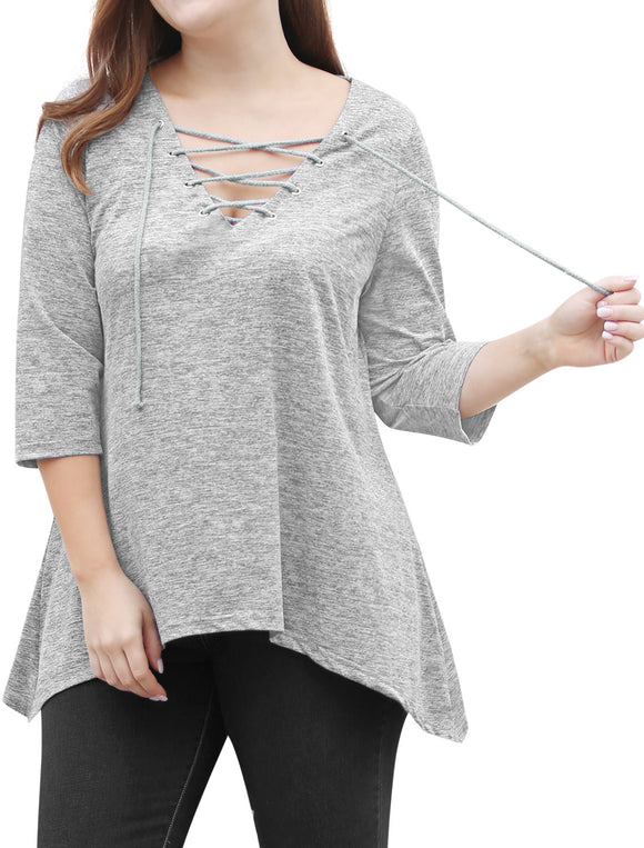 Women Plus Size Lace Up V Neckline 3/4 Sleeves Handkerchief Hem Top Gray
