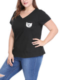 Women Plus Size Letter Cat Prints Bust Pocket V Neck Tee Black