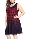 Women Plus Size Plaids Ombre Above Knee Sleeveless A Line Dress Red