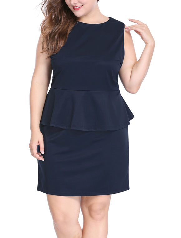 Women Plus Size Sleeveless Above Knee Bodycon Peplum Dress Blue