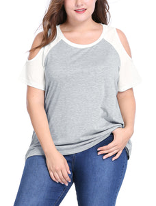 Women Plus Size Contrast Raglan Sleeves Cold Shoulder Tee Gray