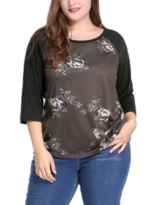 Women Plus Size 3/4 Raglan Sleeves Scoop Neck Floral Top Coffee