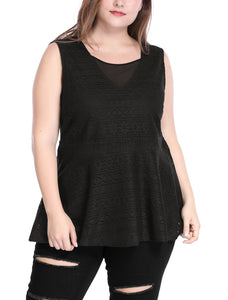 Women Plus Size Sheer Mesh V Neck Sleeveless Lace Peplum Top Black