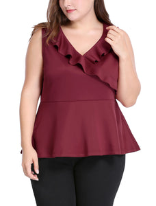 Women Plus Size V Neck Sleeveless Ruffle Trim Peplum Top Red