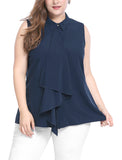 Women Plus Size Hidden Placket Ruffle Front Sleeveless Shirt