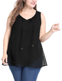 Women Plus Size Layered Self Tie Neckline Tulip Hem Chiffon Top Black