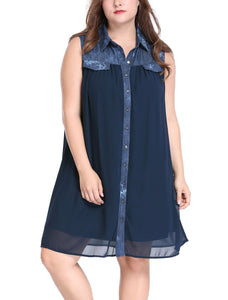 Lady Plus Size Chiffon Wash Denim Above Knee Shirt Dress Blue