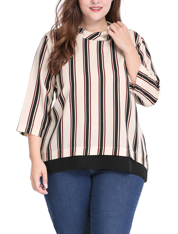 Women Plus Size Asymmetric Neck 3/4 Sleeves Chiffon Striped Top Black
