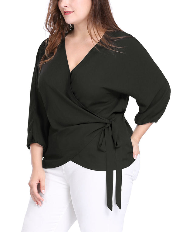 Women Plus Size Batwing Sleeves Chiffon Self Tie Wrap Top Black