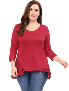 Women Plus Size 3/4 Sleeves Scoop Neck Chiffon Panel Swing Tunic Top Red