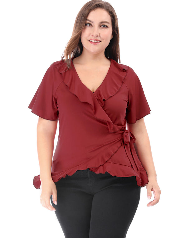 Women Plus Size V Neck Trumpet Sleeves Ruffled Wrap Blouse