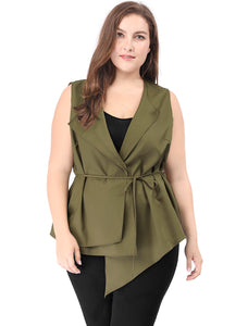Women Plus Size Layered Collar Asymmetric Hem Belted Vest Green