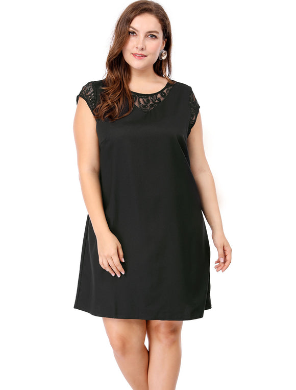 Women Plus Size Cap Sleeves Lace Inset Above Knee Dress Black