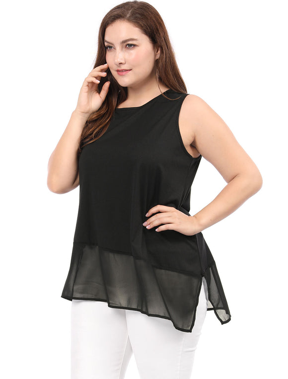 Women Plus Size Asymmetric Hem Split Side Chiffon Panel Top Black