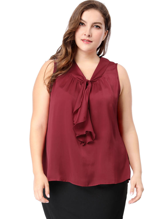 Women Plus Size Ruffle Front V Neck Sleeveless Top Burgundy
