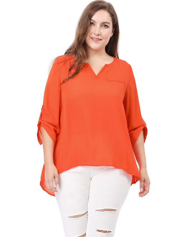 Women Plus Size Split Neck High Low Hem 3/4 Sleeves Blouse Orange