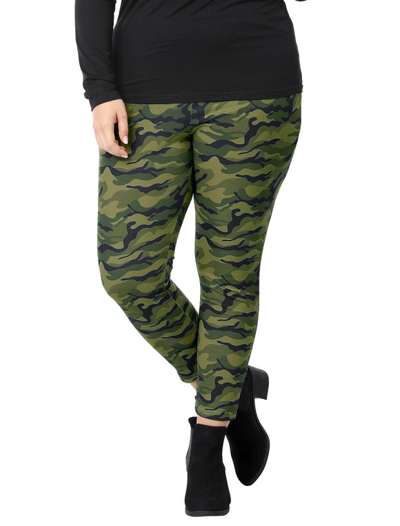 Women Plus Size Elastic Waist Stretch Camouflage Skinny Leggings Green