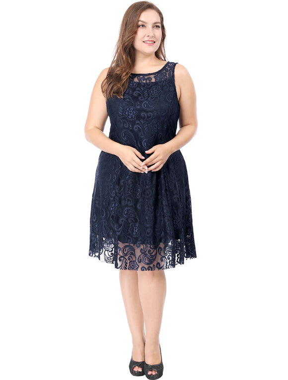 Women Plus Size Sheer Yoke Boat Neck Knee Length Lace Dress Blue