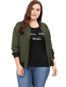 Women Plus Size Contrast Trim Zipper Pocket Lightweight Bomber Jacket Green