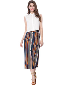 Women Decorative Buttons Front Slit Hem Striped Maxi Skirt Multi Color