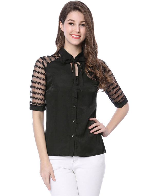 Women Button Closure Self Tie Cut Out Front Mesh Panel Shirt Black