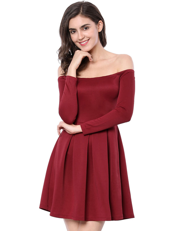 Women Off The Shoulder Pleated Panel A-line Dress Red