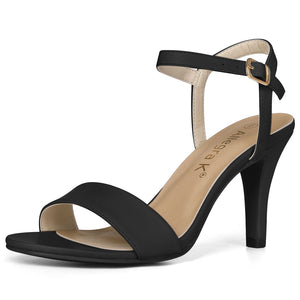 Women Open Toe Stiletto Heel Ankle Strap Dress Sandals Black
