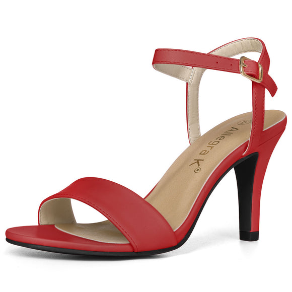 Women Open Toe Stiletto Heel Ankle Strap Dress Sandals Red