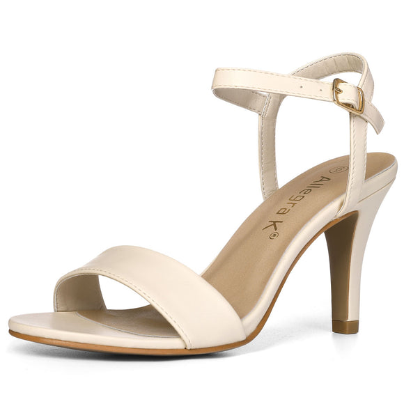 Women Open Toe Stiletto Heel Ankle Strap Dress Sandals Beige