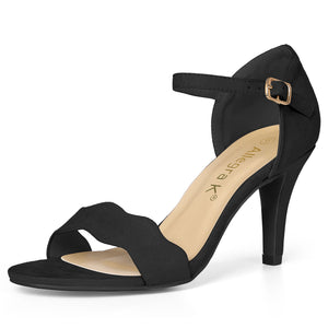 Women Stiletto Heel Scalloped Ankle Strap Sandals Black