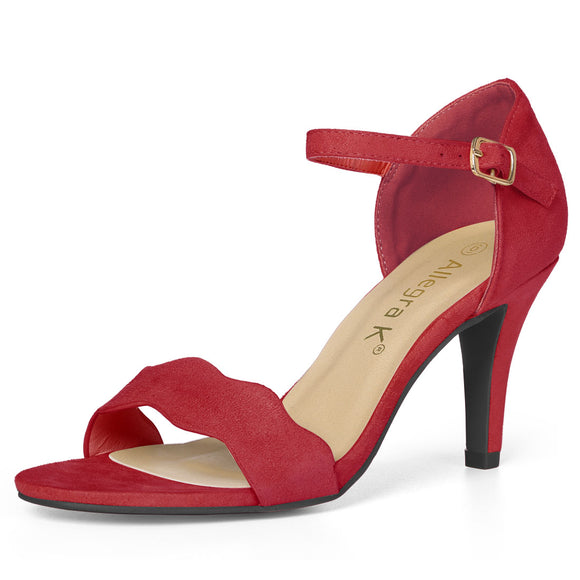 Women Stiletto Heel Scalloped Ankle Strap Sandals Red