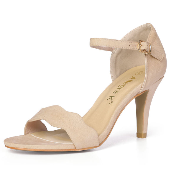 Women Stiletto Heel Scalloped Ankle Strap Sandals Beige