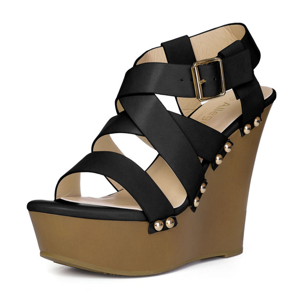 Women Open Toe Platform Strappy Wedge Sandals Black