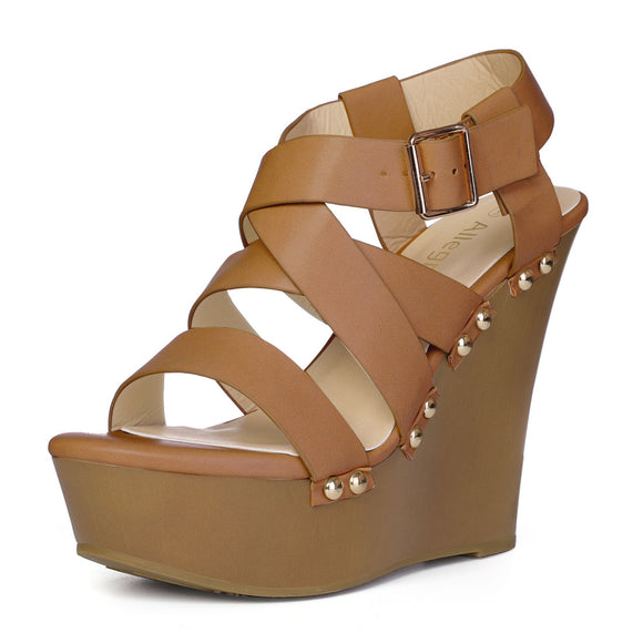 Women Open Toe Platform Strappy Wedge Sandals Brown