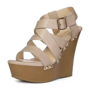 Women Open Toe Platform Strappy Wedge Sandals Beige