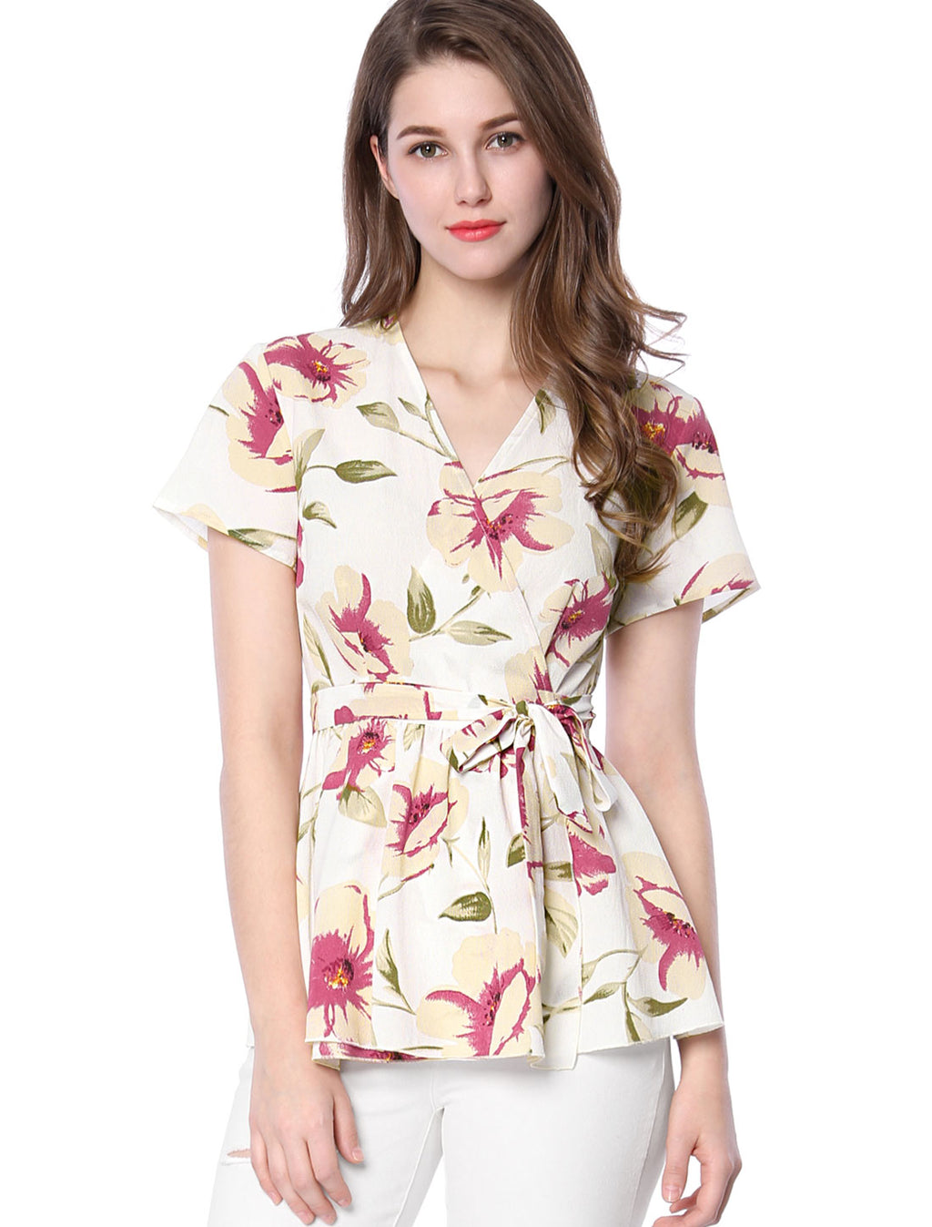 Women Crossover V-neck Floral Print Self-tie Waist Wrap Peplum Top White
