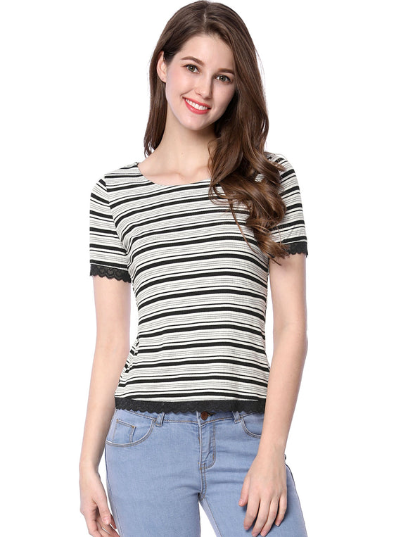Women Short Sleeves Lace Panel Trim Ribbed Stripes Tee Shirt Black