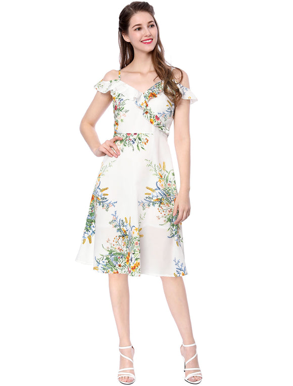 Women Ruffled Floral Print Spaghetti Strap Cold Shoulder Midi Dress White
